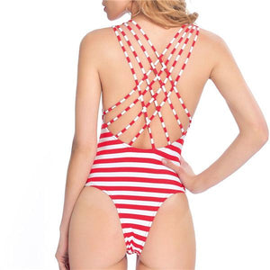 Red Stripe One Piece Swimsuit