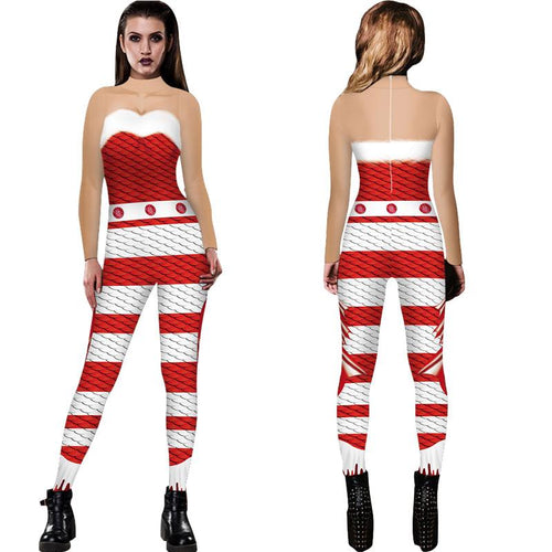 Funny Ugly Christmas 3D Fish Scale Print Tight Stretch Women Jumpsuit Pajamas Onesies Pants