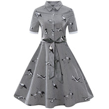 Load image into Gallery viewer, Bird and Stripe Print Vintage Swing Dress