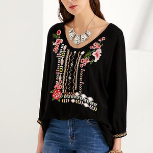 Handmade Embroidered Bohemian Floral Casual V-Neckline 3/4 Sleeves Blouses