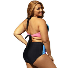 Load image into Gallery viewer, Plus Size Halter Neck Color Block Bikini Set