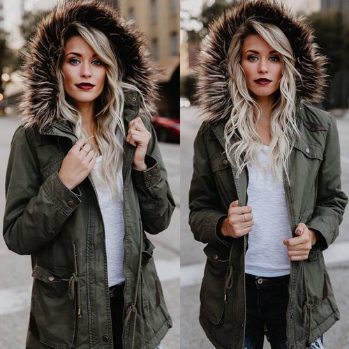 Large Fur Collar Hooded Cotton Jacket
