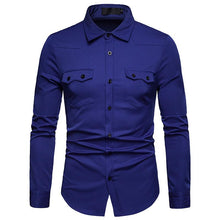 Load image into Gallery viewer, Men's Casual Business Solid Color Lapel Casual Long Sleeve Shirt