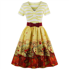 Load image into Gallery viewer, Striped with Belt Vintage dress