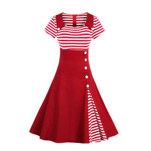 Load image into Gallery viewer, Plus Size Striped Retro Vintage Dress