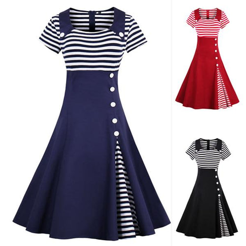 Plus Size Striped Retro Vintage Dress