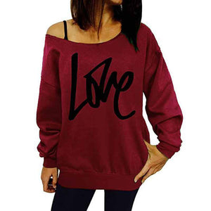 LOVE Letter Printed Long Sleeve Leaky shoulder Blouse Tops