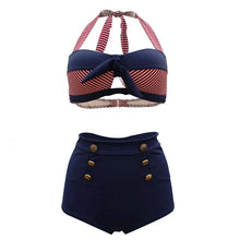 Load image into Gallery viewer, High Waisted Halter Button Bowknot Women Retro Sexy Bikini Swimwear Bathing Suit