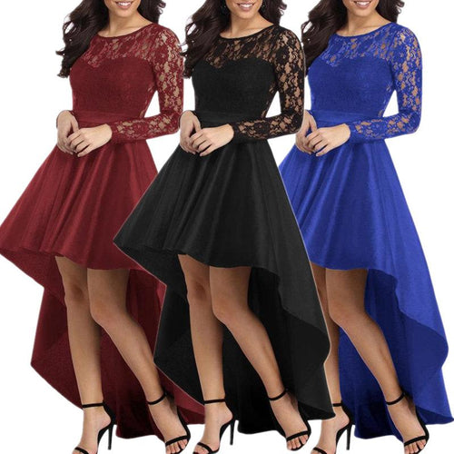 Lace Long Sleeve Round Neck Stitching Dress