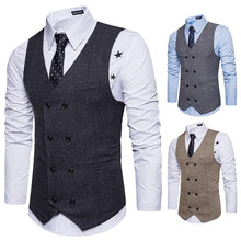 Load image into Gallery viewer, V Neck Double Breasted Belt Design Waistcoat