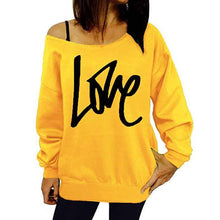 Load image into Gallery viewer, LOVE Letter Printed Long Sleeve Leaky shoulder Blouse Tops