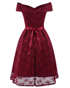 Sexy Bow Tie  Lace Off Shoulder Vintage Dress