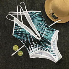 Load image into Gallery viewer, Bamboo Leaf Print One-Piece Swimsuit