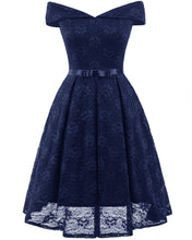 Load image into Gallery viewer, Sexy Bow Tie  Lace Off Shoulder Vintage Dress