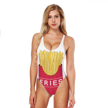 Load image into Gallery viewer, FRIES High Cut Cross Back One-piece Swimwear
