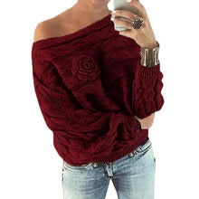 Load image into Gallery viewer, Women'sFashion Flower Sweaters Sexy Off Shoulder Jumpers