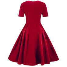 Load image into Gallery viewer, Solid Color Frilled Button Gingham 1950s Dress