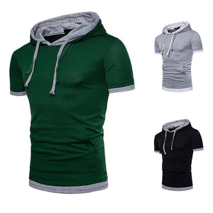 Men's Fake Two-piece Fashion Large Size Short Sleeve Hoodie T-shirt