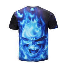 Load image into Gallery viewer, Men's 3D Flame Skull Print Casual T-shirt