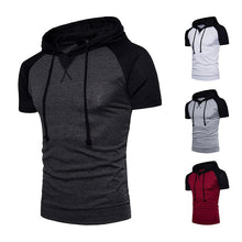 Load image into Gallery viewer, Men's Raglan Sleeve Design Large Size Hooded Short Sleeve T-Shirt