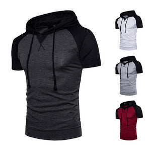 Men's Raglan Sleeve Design Large Size Hooded Short Sleeve T-Shirt
