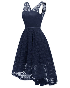 Womens Cocktail Party Wedding Floral Lace V Neck Evening Formal Dresses