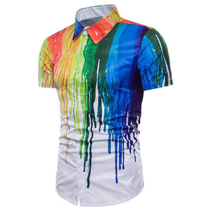 Men's Casual 3D Splash Design Short Sleeve Lapel Large Size Shirt