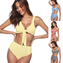 Load image into Gallery viewer, High Rise Knotted Striped Bikini Swimwear