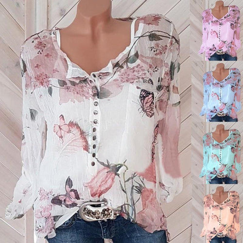 Fashion Chiffon O-neck Long Sleeve Loose Shirt