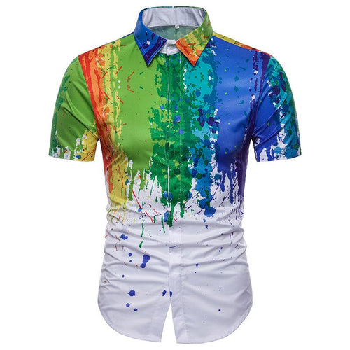 Men's Casual 3D Splash Painted Color Short Sleeve Lapel Shirt
