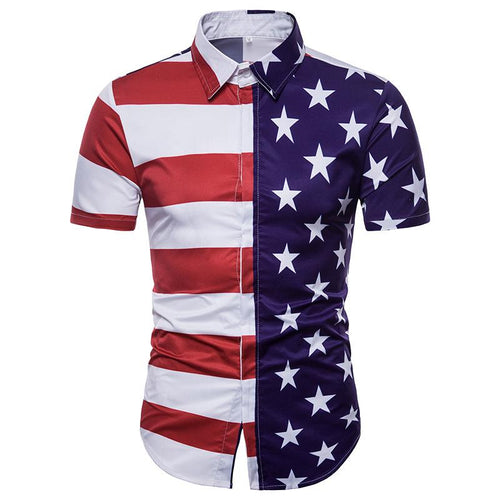 Men's Casual American Flag Print Short Sleeve T-Shirt