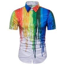 Load image into Gallery viewer, Men's Casual 3D Splash Design Short Sleeve Lapel Large Size Shirt