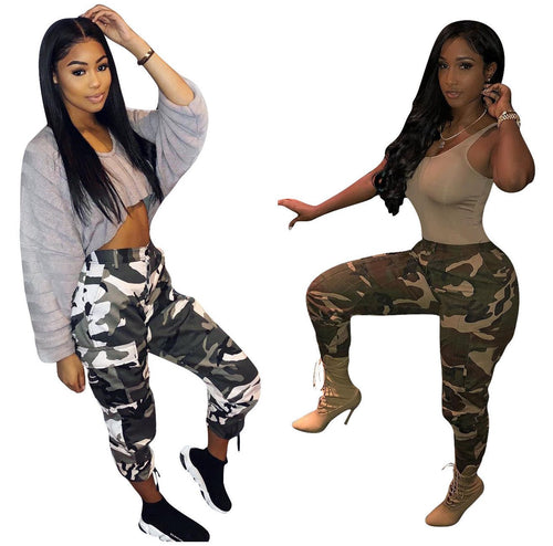 Loose Camouflage Printed Women Casual Camo Pants