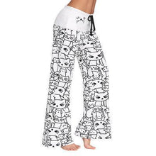 Load image into Gallery viewer, Cat Print Palazzo Wide Leg Pants