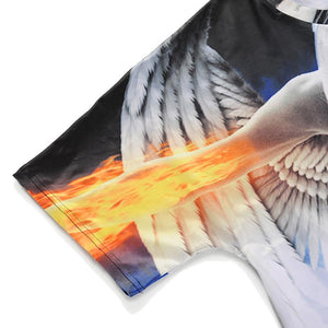 3D Angel Printed Loose Short Sleeve T-shirt