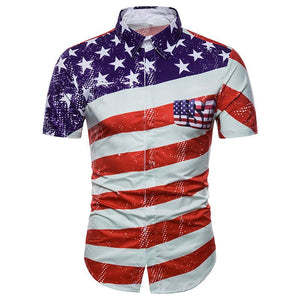 Men's Casual American Striped Flag Pattern Print Short Sleeve Shirt