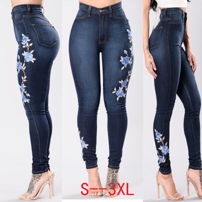 Embroidered Stretch Jeans Feet Pants