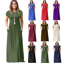 Load image into Gallery viewer, Women Short Sleeve Casual Long Dresses With Pockets