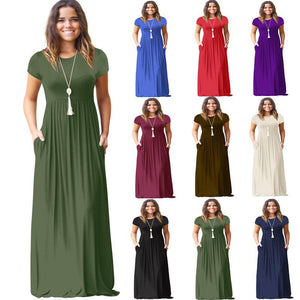 Women Short Sleeve Casual Long Dresses With Pockets