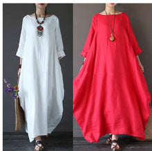 Load image into Gallery viewer, Plus Size Loose Round Neck Long Sleeve Dresses