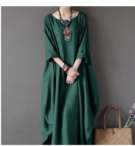 Plus Size Loose Round Neck Long Sleeve Dresses