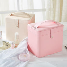 Load image into Gallery viewer, PU Large Capacity Portable Makeup Storage Box with Mirror