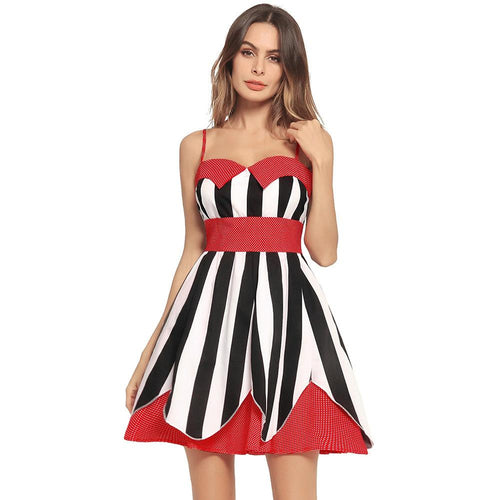 Strap Ttube Striped Stitching Vintage Dress