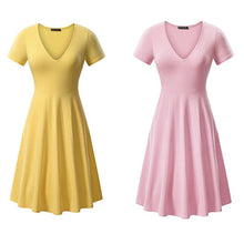 Load image into Gallery viewer, V-neck Short Sleeve Solid Color Dress