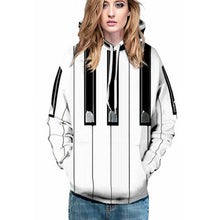 Load image into Gallery viewer, Piano Button Printed Pullover Loose Hoodie