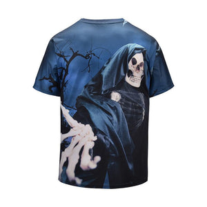 Halloween Men Plus Size 3D Skull Print Casual T-shirt