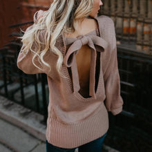 Load image into Gallery viewer, Backless Sexy Bow Cut out Winter Sweater