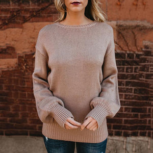Backless Sexy Bow Cut out Winter Sweater