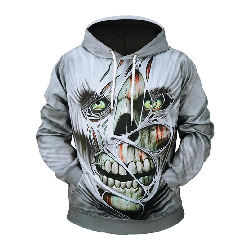 Horror  skull print Halloween Men Hoodie