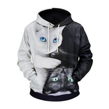 Load image into Gallery viewer, Black and White Cat 3D Printed Loose Hoodie